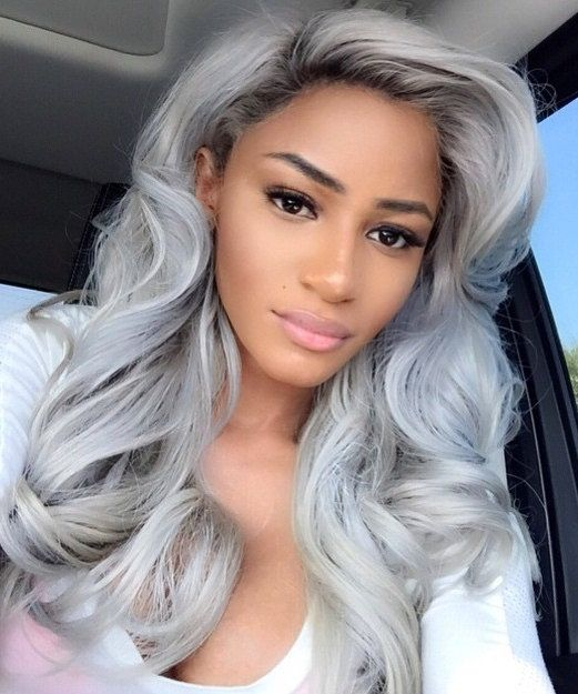platinum silver 20 inch lace front wig